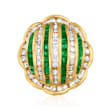 C. 1980 Vintage 1.43 ct. t.w. Diamond and 1.30 ct. t.w. Emerald Flower Ring in 18kt White Gold