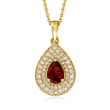 .70 Carat Garnet and .60 ct. t.w. White Topaz Pendant Necklace in 18kt Gold Over Sterling