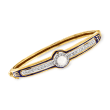 C. 1950 Vintage 5.8mm Cultured Pearl and .30 ct. t.w. Diamond Bangle Bracelet with Blue Enamel in 14kt Yellow Gold