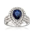 1.31 Carat Sapphire and .85 ct. t.w. Diamond Halo Ring in 14kt White Gold