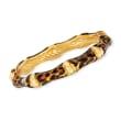 Italian Leopard-Print Enamel Bamboo-Style Bangle Bracelet in 18kt Gold Over Sterling