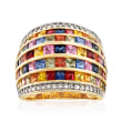 5.10 ct. t.w. Multicolored Sapphire, .70 ct. t.w. Ruby and .33 ct. t.w. Diamond Ring in 14kt Yellow Gold