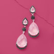 22.20 ct. t.w. Rose Quartz and 1.00 ct. t.w. Black Spinel Drop Earrings in Sterling Silver