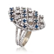 C. 1980 Vintage .60 ct. t.w. Sapphire and .40 ct. t.w. Diamond Multi-Row Ring in 18kt White Gold