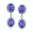 7.25 ct. t.w. Tanzanite and 1.10 ct. t.w. Diamond Drop Earrings in 14kt White Gold