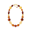 Italian Murano Glass Bead Necklace with 18kt Gold Over Sterling