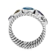 1.20 ct. t.w. Multi-Gemstone Open-Space Rope Ring in Sterling Silver
