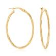 Italian 18kt Yellow Gold Oval-Shaped Twisted Hoop Earrings