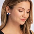 Mother-Of-Pearl, Lapis and .10 ct. t.w. Garnet Bug Earrings in 14kt Yellow Gold