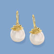 12-13mm Cultured Coin Pearl Drop Earrings in 18kt Gold Over Sterling