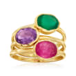 Pink Quartz, Green Chalcedony and Amethyst Jewelry Set: Three Rings in 18kt Gold Over Sterling