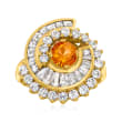 C. 1980 Vintage .60 Carat Citrine and 2.00 ct. t.w. Diamond Spiral Ring in 14kt Yellow Gold