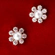 Child's 2mm Cultured Pearl Flower Earrings with .15 ct. t.w. CZs in 14kt Yellow Gold