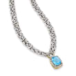 4.30 ct. t.w. Swiss Blue and White Topaz Byzantine Necklace in Two-Tone Sterling Silver