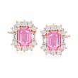 2.20 ct. t.w. Pink Sapphire and .88 ct. t.w. Diamond Earrings in 14kt Rose Gold