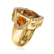 12.00 Carat Smoky Quartz, 2.00 ct. t.w. Citrine and .60 ct. t.w. Diamond Ring in 14kt Yellow Gold