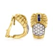 C. 1980 Vintage .75 ct. t.w. Diamond and .30 ct. t.w. Sapphire Clip-On J-Hoop Earrings in 18kt Two-Tone Gold