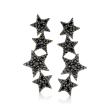 1.70 ct. t.w. Black Spinel Star Ear Climbers in Sterling Silver