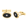 C. 1980 Vintage Tiffany Jewelry Black Onyx and .10 ct. t.w. Diamond Cuff Links in 18kt Yellow Gold