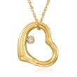 14kt Yellow Gold Open-Space Heart Pendant Necklace with Diamond Accent