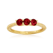 .30 ct. t.w. Garnet Three-Stone Pinky Ring in 18kt Gold Over Sterling
