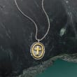 Sterling Silver and 14kt Yellow Gold Oval Cross Necklace