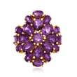5.60 ct. t.w. Amethyst Floral Ring in 18kt Gold Over Sterling