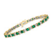 5.75 ct. t.w. Emerald and .92 ct. t.w. Diamond Bracelet in 14kt Two-Tone Gold