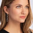 .33 ct. t.w. Diamond Paper Clip Link Drop Earrings in Sterling Silver and 14kt Yellow Gold