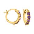 1.60 ct. t.w. Amethyst, Garnet and Blue Topaz Jewelry Set: Three Pairs of Huggie Hoop Earrings in 18kt Gold Over Sterling