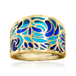 Italian Blue Enamel Ring in 14kt Yellow Gold