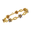 C. 1970 Vintage Blue and Orange Enamel Flower Bracelet in 18kt Yellow Gold