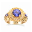 2.80 ct. t.w. Tanzanite and .12 ct. t.w. Diamond Ring in 14kt Yellow Gold