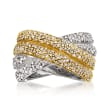 C. 1980 Vintage 1.00 ct. t.w. Diamond Crisscross Ring in 14kt Two-Tone Gold