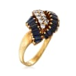 C. 1970 Vintage 2.50 ct. t.w. Sapphire and 1.00 ct. t.w. Diamond Knot Ring in 18kt Yellow Gold