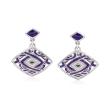 """Belle Etoile """"Virago"""" Twilight Blue Enamel and .13 ct. t.w. CZ Drop Earrings in Sterling Silver"""