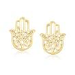 14kt Yellow Gold Hamsa Hand Stud Earrings