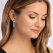 1.30 ct. t.w. Simulated Sapphire and .90 ct. t.w. CZ Drop Earrings in Sterling Silver