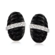 Black Agate and .24 ct. t.w. Diamond Earrings in Sterling Silver