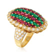 C. 1980 Vintage 4.25 ct. t.w. Ruby, 2.35 ct. t.w. Emerald and 1.52 ct. t.w. Diamond Shield Ring in 18kt Yellow Gold