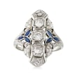 C. 1950 Vintage .70 ct. t.w. Diamond and .35 ct. t.w. Simulated Sapphire Filigree Ring in 18kt White Gold