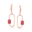 1.20 ct. t.w. Ruby Carabiner-Link Drop Earrings in 18kt Rose Gold Over Sterling