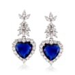 14.50 ct. t.w. Simulated Sapphire and 5.26 ct. t.w. CZ Heart Drop Earrings in Sterling Silver