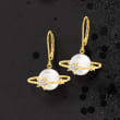 9.5-10mm Cultured Pearl Planet Drop Earrings with Diamond Accents in 18kt Gold Over Sterling