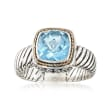 Balinese 2.30 Carat Sky Blue Topaz Ring in Two-Tone Sterling Silver
