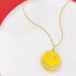.15 ct. t.w. Diamond and Yellow Enamel Smiley Face Pendant Necklace in 18kt Gold Over Sterling