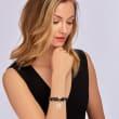 Sterling Silver Monogram Charm Double-Wrap Black Leather Bracelet