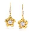 Simon G. .44 ct. t.w. Diamond Flower Drop Earrings in 18kt Yellow Gold