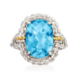 "Phillip Gavriel ""Popcorn"" 6.00 Carat Blue Topaz Ring in Sterling Silver with 18kt Yellow Gold"