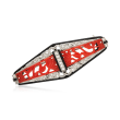 C. 1960 Vintage Coral, Black Onyx and .20 ct. t.w. Diamond Pin with Black Enamel in Platinum